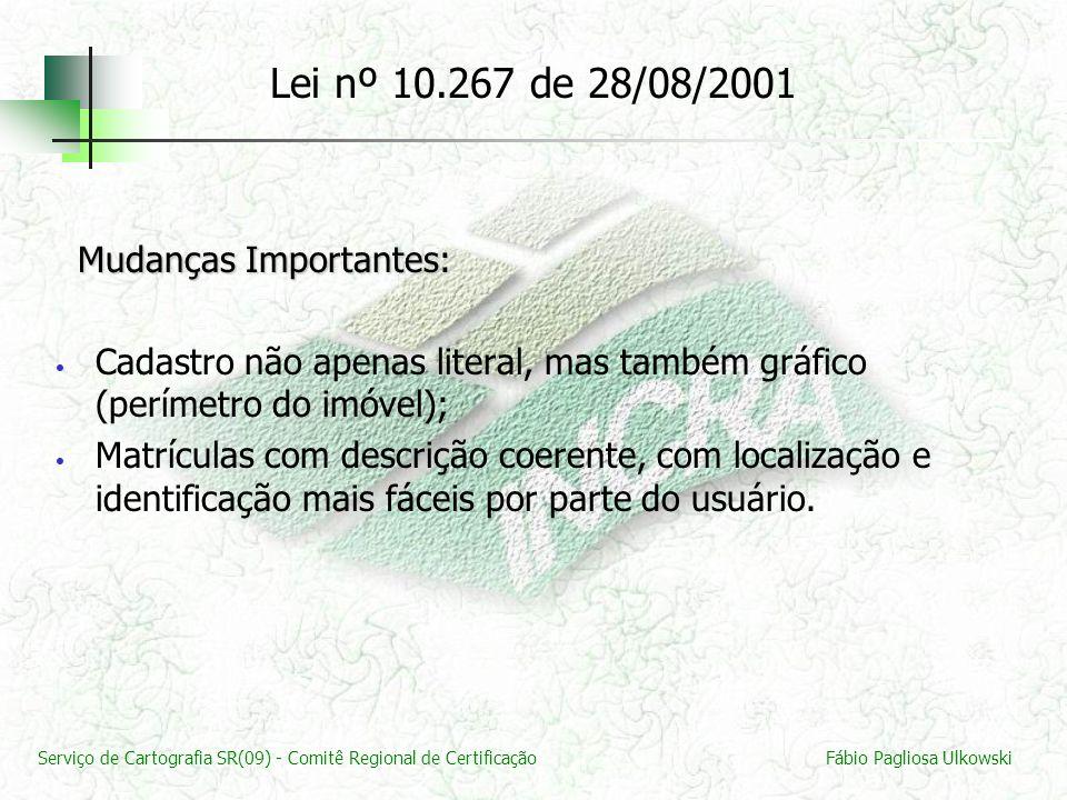 Serviço de Cartografia SR(09) - Comitê Regional de CertificaçãoFábio Pagliosa Ulkowski Mudanças Importantes: Mudanças Importantes: Cadastro não apenas