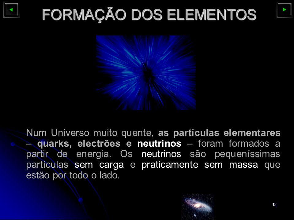 13 FORMAÇÃO DOS ELEMENTOS Num Universo muito quente, as partículas elementares – quarks, electrões e neutrinos – foram formados a partir de energia. O