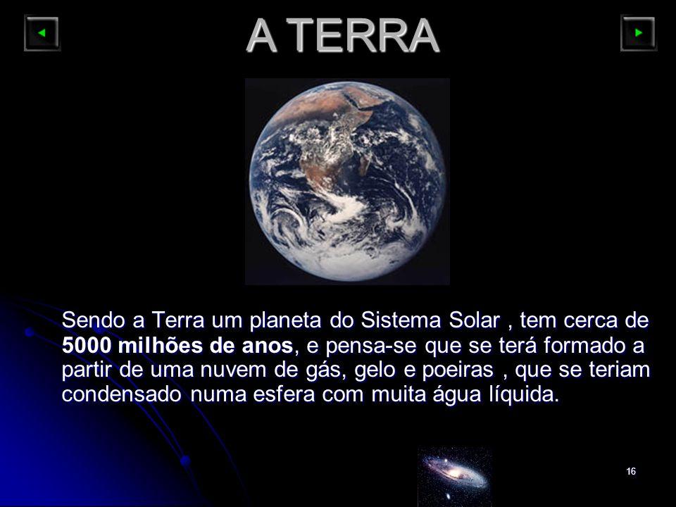 16 A TERRA Sendo a Terra um planeta do Sistema Solar, tem cerca de 5000 milhões de anos, e pensa-se que se terá formado a partir de uma nuvem de gás,