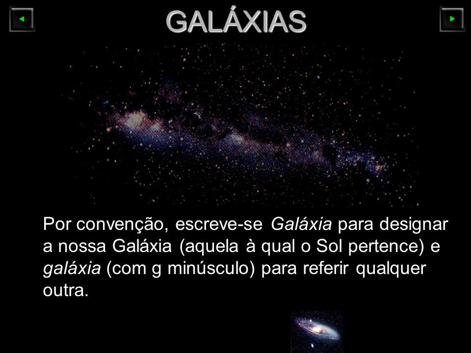 GALÁXIAS Por convenção, escreve-se Galáxia para designar a nossa Galáxia (aquela à qual o Sol pertence) e galáxia (com g minúsculo) para referir qualq