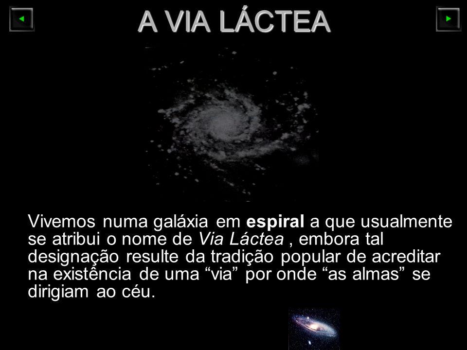 A VIA LÁCTEA Vivemos numa galáxia em espiral a que usualmente se atribui o nome de Via Láctea, embora tal designação resulte da tradição popular de ac