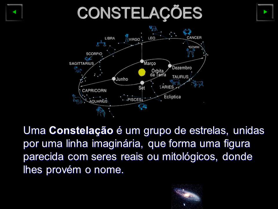 CONSTELAÇÕES Uma Constelação é um grupo de estrelas, unidas por uma linha imaginária, que forma uma figura parecida com seres reais ou mitológicos, do