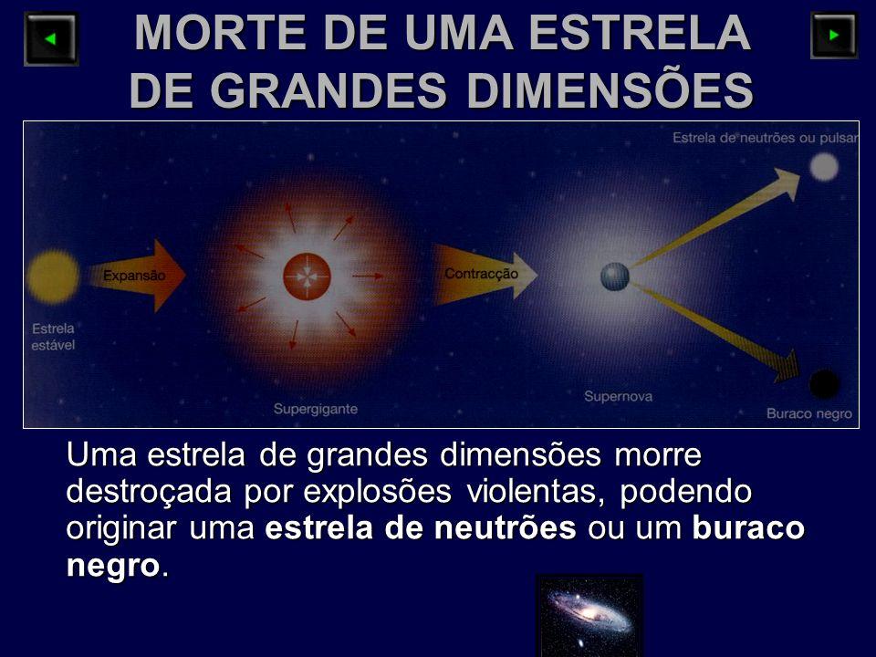 MORTE DE UMA ESTRELA DE GRANDES DIMENSÕES Uma estrela de grandes dimensões morre destroçada por explosões violentas, podendo originar uma estrela de n