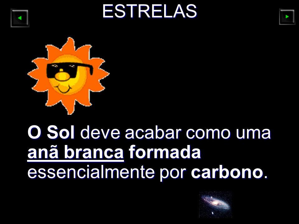 ESTRELAS O Sol deve acabar como uma anã branca formada essencialmente por carbono.