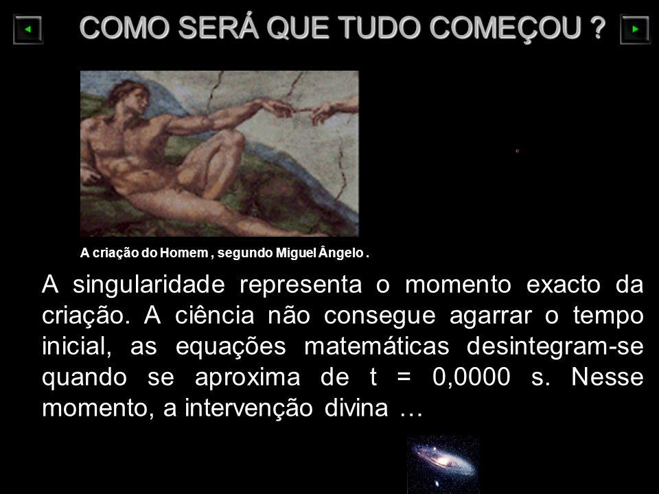 COMO SERÁ QUE TUDO COMEÇOU ? COMO SERÁ QUE TUDO COMEÇOU ? A singularidade representa o momento exacto da criação. A ciência não consegue agarrar o tem