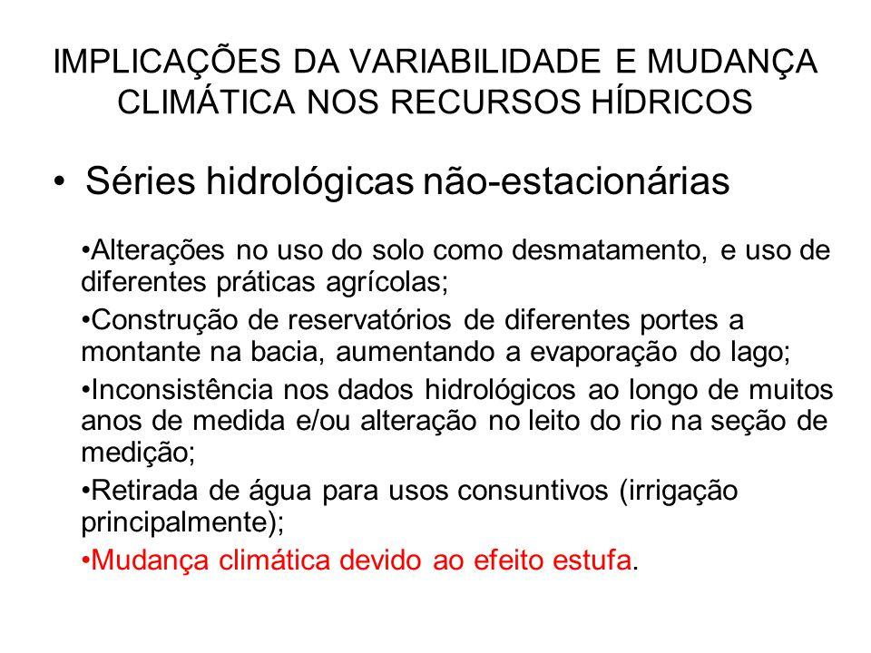 IMPLICAÇÕES DA VARIABILIDADE E MUDANÇA CLIMÁTICA NOS RECURSOS HÍDRICOS Maior variância maior resiliencia da infra-estrutura hídrica (reservatórios, canais, estações de bombeamento,etc.) Sistemas complexos e mais onerosos Sistemas de abastecimento de água de pequenas comunidades e regiões metropolitanas atuando no limite da capacidade (São Paulo, Campinas)