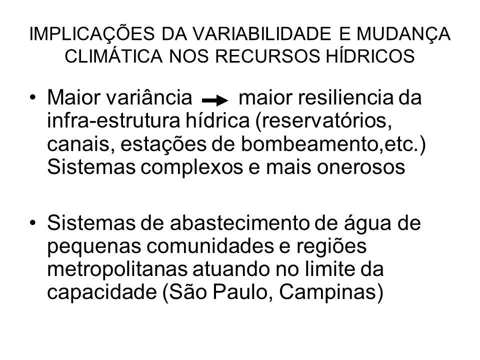 IMPLICAÇÕES DA VARIABILIDADE E MUDANÇA CLIMÁTICA NOS RECURSOS HÍDRICOS Maior variância maior resiliencia da infra-estrutura hídrica (reservatórios, ca
