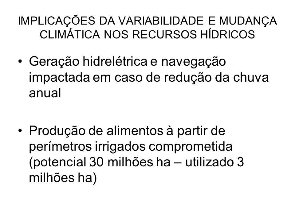 IMPLICAÇÕES DA VARIABILIDADE E MUDANÇA CLIMÁTICA NOS RECURSOS HÍDRICOS Geração hidrelétrica e navegação impactada em caso de redução da chuva anual Pr