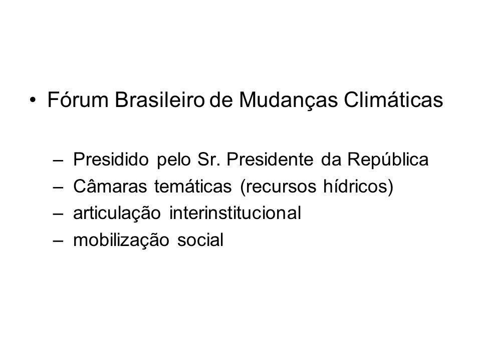 Fórum Brasileiro de Mudanças Climáticas – Presidido pelo Sr. Presidente da República – Câmaras temáticas (recursos hídricos) – articulação interinstit