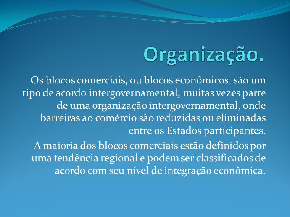 Os blocos comerciais, ou blocos econômicos, são um tipo de acordo intergovernamental, muitas vezes parte de uma organização intergovernamental, onde b
