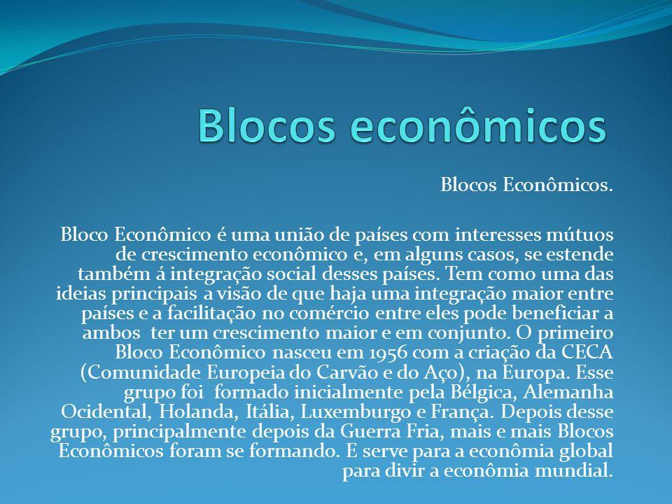 Blocos Econômicos. Bloco Econômico é uma união de países com interesses mútuos de crescimento econômico e, em alguns casos, se estende também á integr