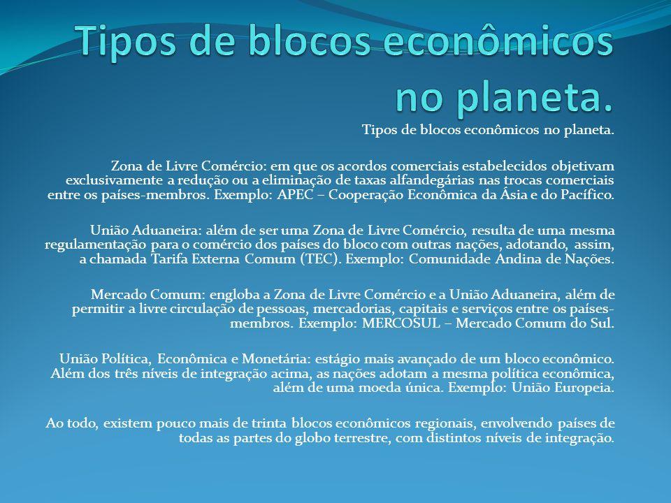 Tipos de blocos econômicos no planeta.