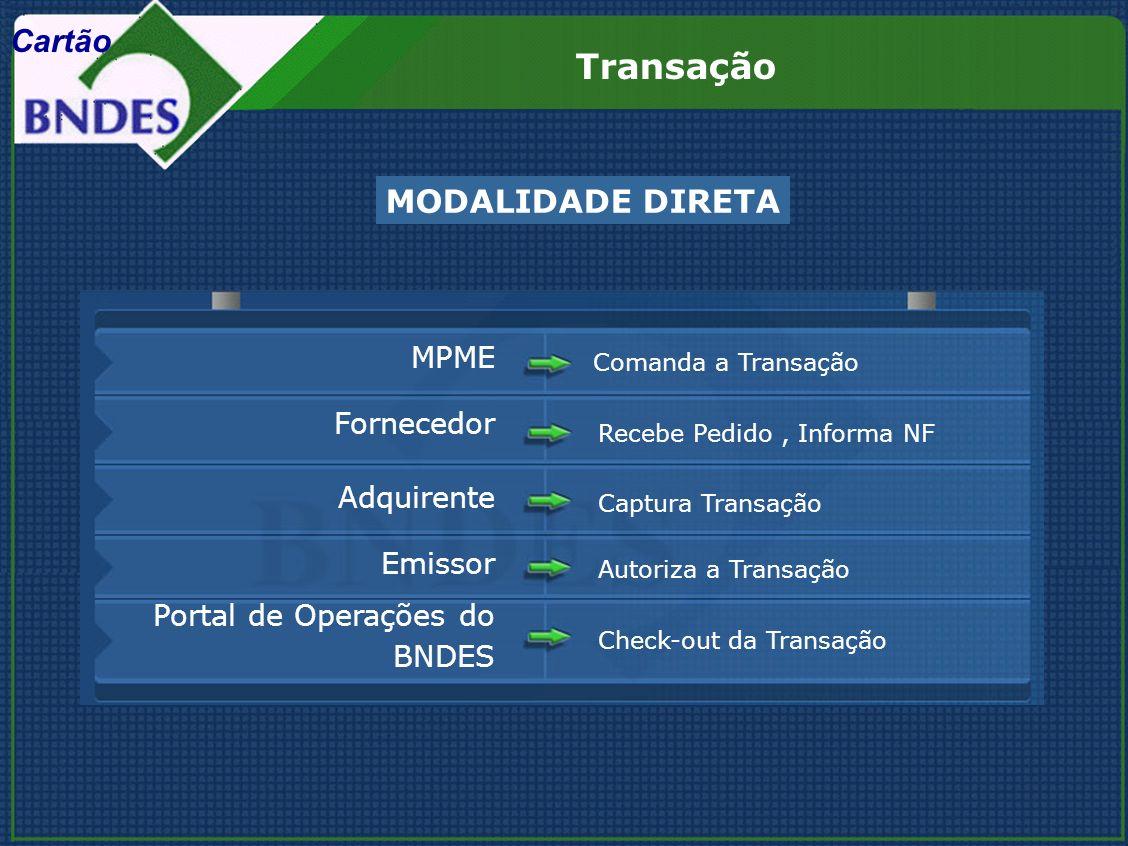 Recebe Pedido, Informa NF Fornecedor Comanda a Transação MPME Captura Transação Adquirente Autoriza a Transação Emissor Check-out da Transação Portal de Operações do BNDES MODALIDADE DIRETA Transação Cartão