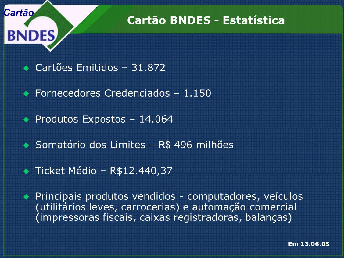 Cartão BNDES - Estatística Em 13.06.05 Cartões Emitidos – 31.872 Fornecedores Credenciados – 1.150 Produtos Expostos – 14.064 Somatório dos Limites – R$ 496 milhões Ticket Médio – R$12.440,37 Principais produtos vendidos - computadores, veículos (utilitários leves, carrocerias) e automação comercial (impressoras fiscais, caixas registradoras, balanças) Cartão