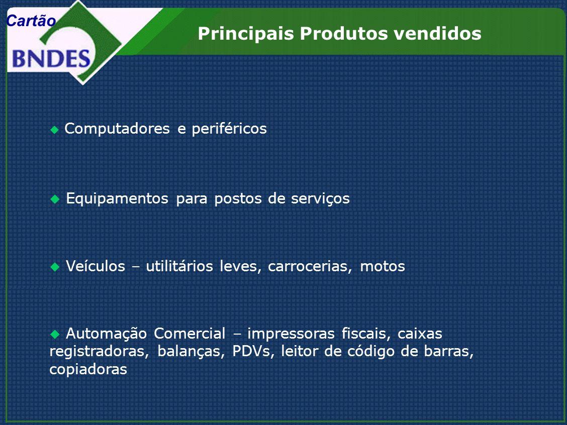 Principais Produtos vendidos Computadores e periféricos Equipamentos para postos de serviços Veículos – utilitários leves, carrocerias, motos Automaçã