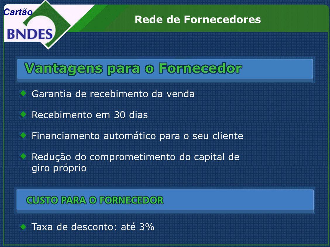 Redução do comprometimento do capital de giro próprio Taxa de desconto: até 3% Rede de Fornecedores Recebimento em 30 dias Garantia de recebimento da venda Financiamento automático para o seu cliente Cartão