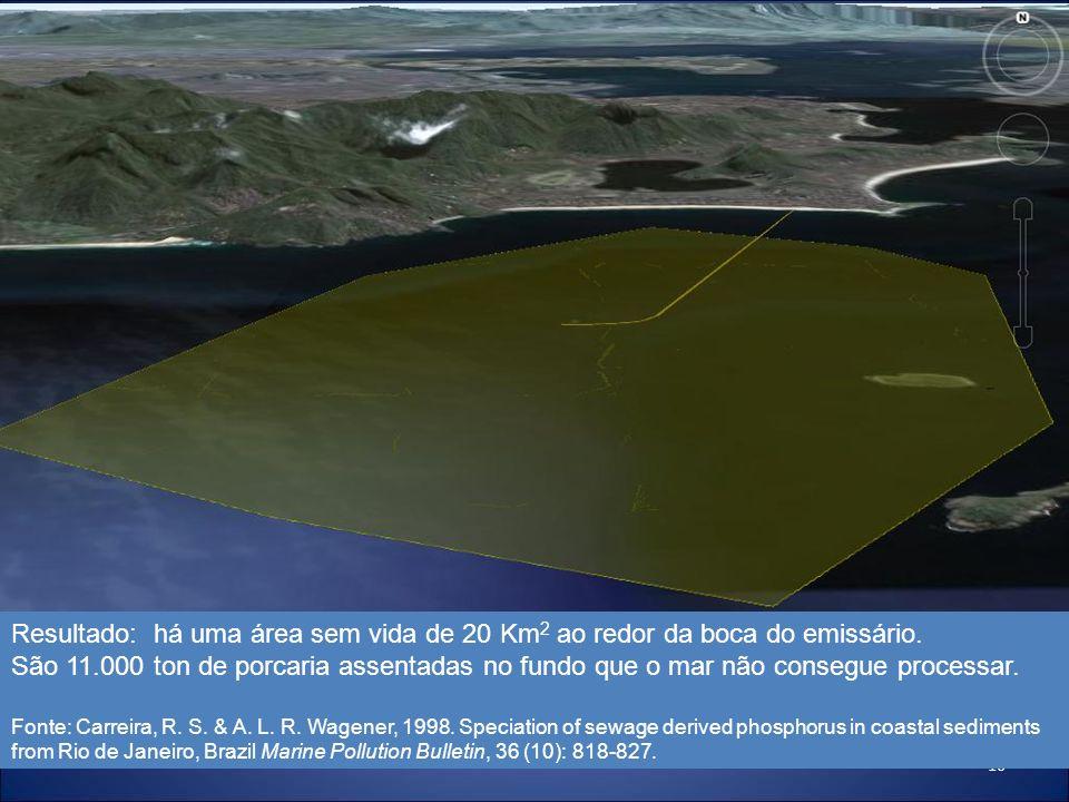 16 Resultado: há uma área sem vida de 20 Km 2 ao redor da boca do emissário. São 11.000 ton de porcaria assentadas no fundo que o mar não consegue pro