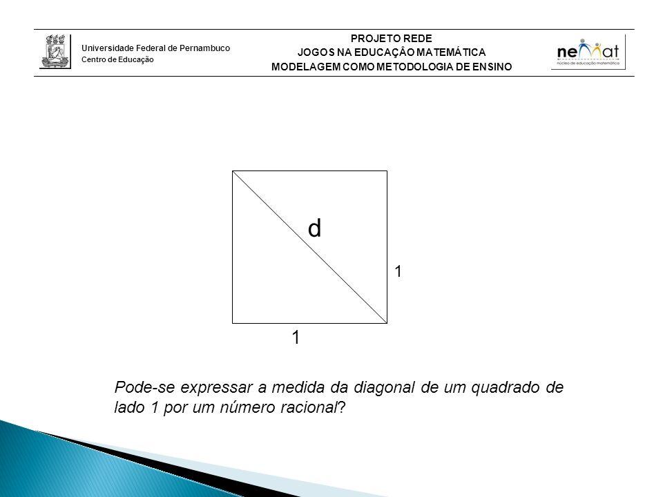 Universidade Federal de Pernambuco Centro de Educação PROJETO REDE JOGOS NA EDUCAÇÂO MATEMÁTICA MODELAGEM COMO METODOLOGIA DE ENSINO d 1 1 Pode-se expressar a medida da diagonal de um quadrado de lado 1 por um número racional?