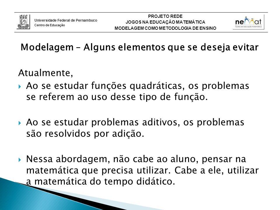 Universidade Federal de Pernambuco Centro de Educação PROJETO REDE JOGOS NA EDUCAÇÂO MATEMÁTICA MODELAGEM COMO METODOLOGIA DE ENSINO Modelagem – Alguns elementos que se deseja evitar Atualmente, Ao se estudar funções quadráticas, os problemas se referem ao uso desse tipo de função.
