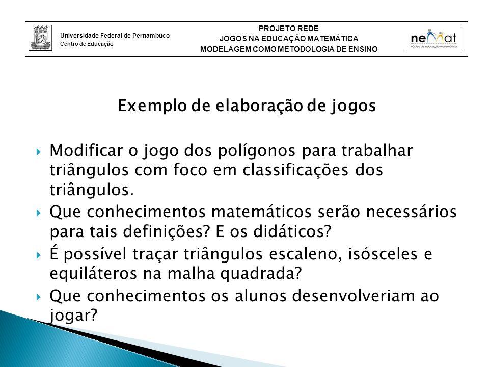 Universidade Federal de Pernambuco Centro de Educação PROJETO REDE JOGOS NA EDUCAÇÂO MATEMÁTICA MODELAGEM COMO METODOLOGIA DE ENSINO Exemplo de elaboração de jogos Modificar o jogo dos polígonos para trabalhar triângulos com foco em classificações dos triângulos.