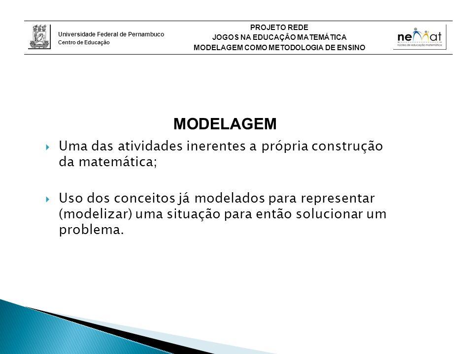 Universidade Federal de Pernambuco Centro de Educação PROJETO REDE JOGOS NA EDUCAÇÂO MATEMÁTICA MODELAGEM COMO METODOLOGIA DE ENSINO MODELAGEM Uma das