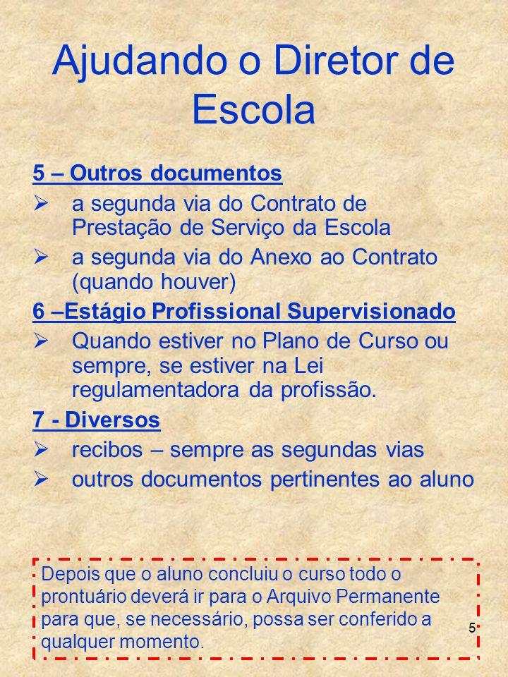 5 Ajudando o Diretor de Escola 5 – Outros documentos a segunda via do Contrato de Prestação de Serviço da Escola a segunda via do Anexo ao Contrato (q