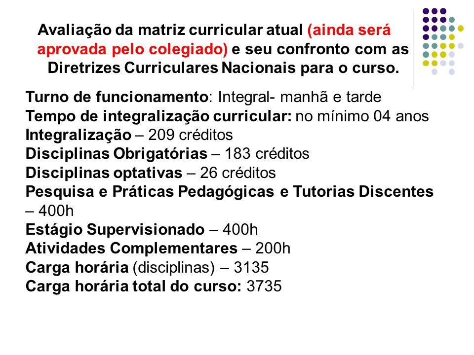 Avaliação da matriz curricular atual (ainda será aprovada pelo colegiado) e seu confronto com as Diretrizes Curriculares Nacionais para o curso. Turno