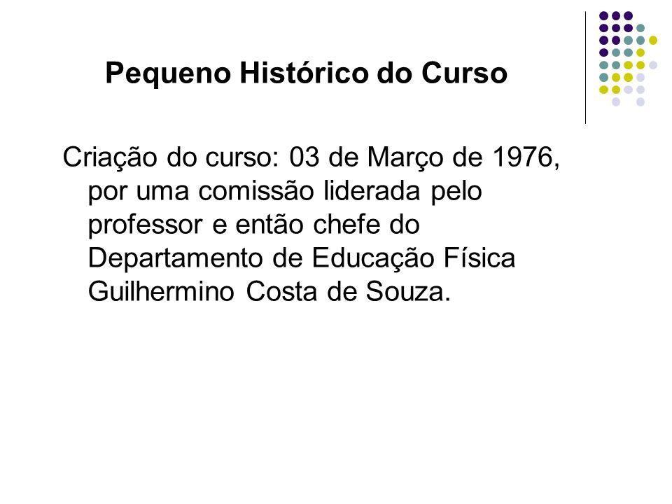 Criação do curso: 03 de Março de 1976, por uma comissão liderada pelo professor e então chefe do Departamento de Educação Física Guilhermino Costa de
