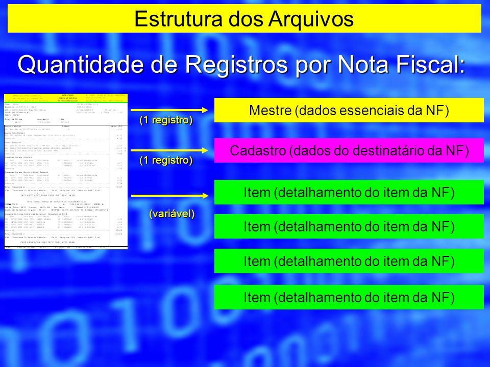 Quantidade de Registros por Nota Fiscal: Mestre (dados essenciais da NF) (1 registro) Cadastro (dados do destinatário da NF) (1 registro) Item (detalh