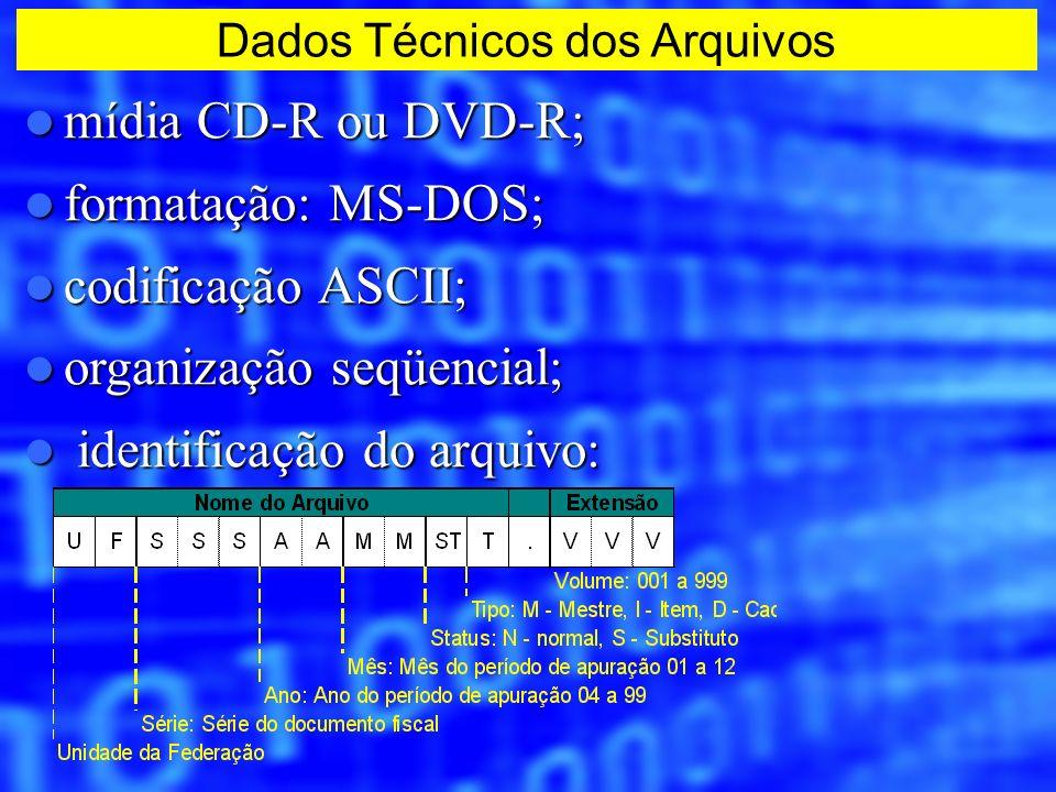 mídia CD-R ou DVD-R; mídia CD-R ou DVD-R; formatação: MS-DOS; formatação: MS-DOS; codificação ASCII; codificação ASCII; organização seqüencial; organi