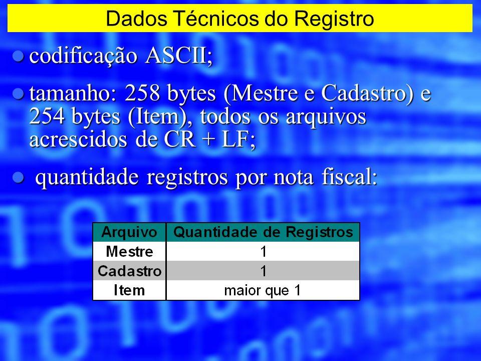 codificação ASCII; codificação ASCII; tamanho: 258 bytes (Mestre e Cadastro) e 254 bytes (Item), todos os arquivos acrescidos de CR + LF; tamanho: 258