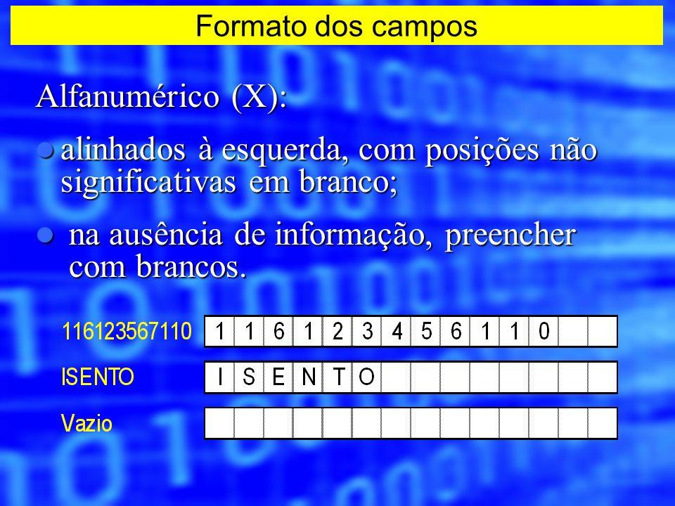 Alfanumérico (X): alinhados à esquerda, com posições não significativas em branco; alinhados à esquerda, com posições não significativas em branco; na