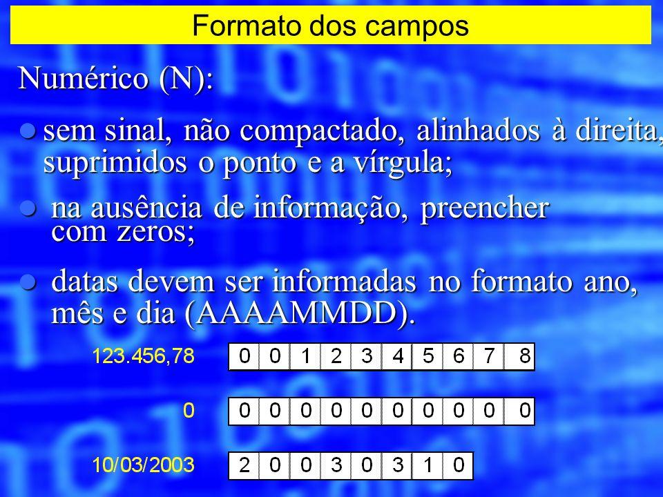 Numérico (N): sem sinal, não compactado, alinhados à direita, suprimidos o ponto e a vírgula; sem sinal, não compactado, alinhados à direita, suprimid