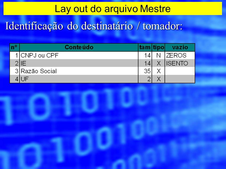 Identificação do destinatário / tomador: Lay out do arquivo Mestre