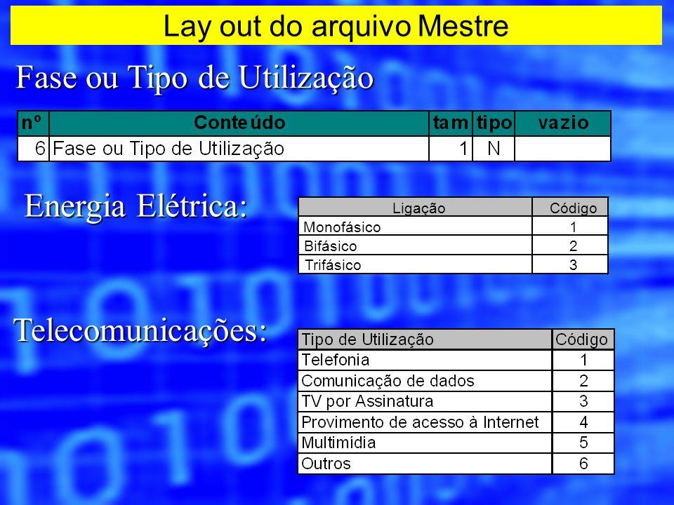 Fase ou Tipo de Utilização Energia Elétrica: Telecomunicações: LigaçãoCódigo Monofásico1 Bifásico2 Trifásico3 Lay out do arquivo Mestre