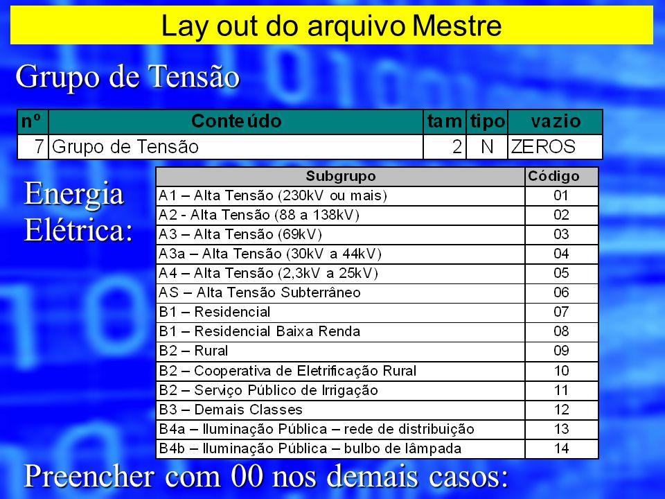 Grupo de Tensão EnergiaElétrica: Preencher com 00 nos demais casos: Lay out do arquivo Mestre