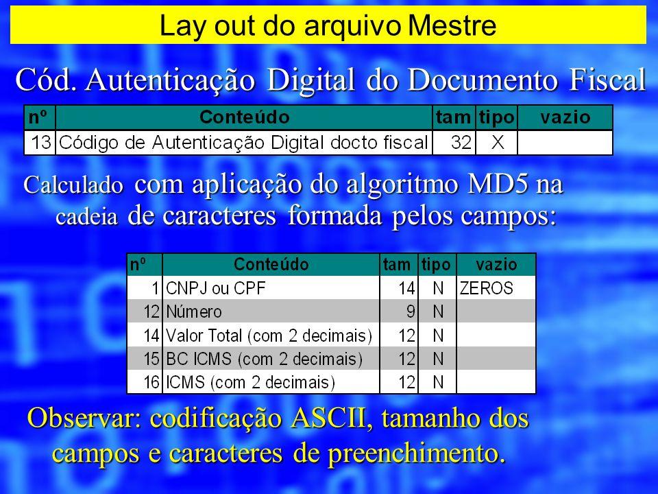 Cód. Autenticação Digital do Documento Fiscal Calculado com aplicação do algoritmo MD5 na cadeia de caracteres formada pelos campos: Observar: codific