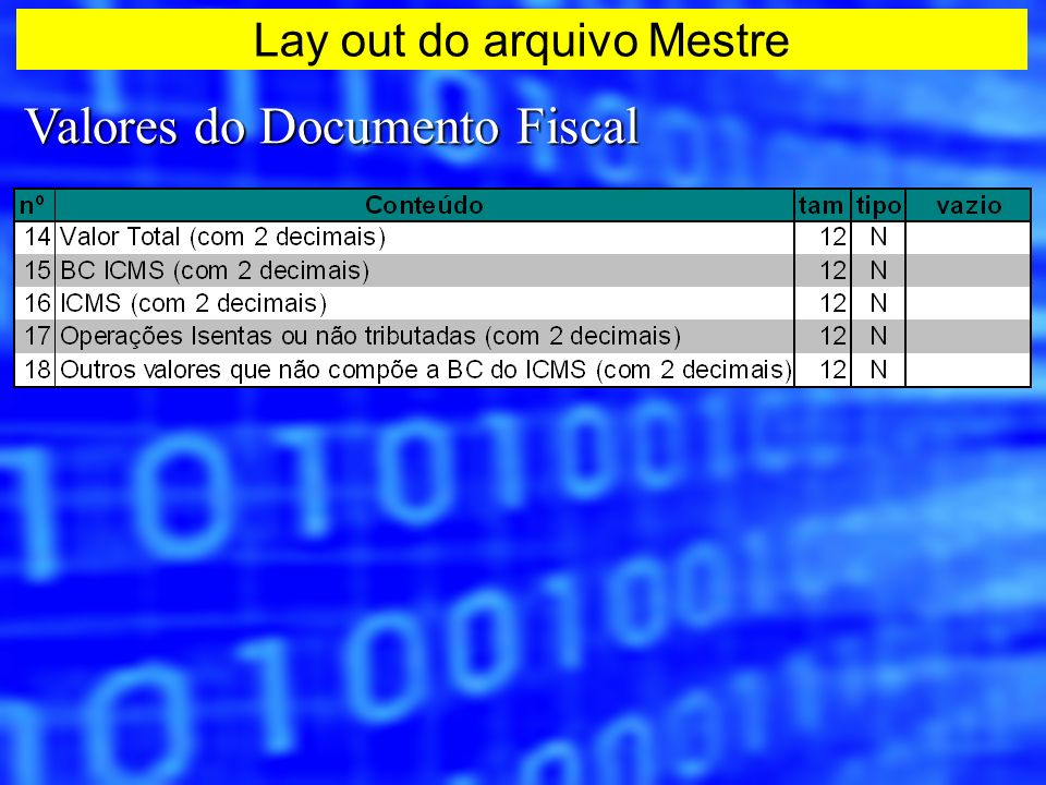 Valores do Documento Fiscal Lay out do arquivo Mestre