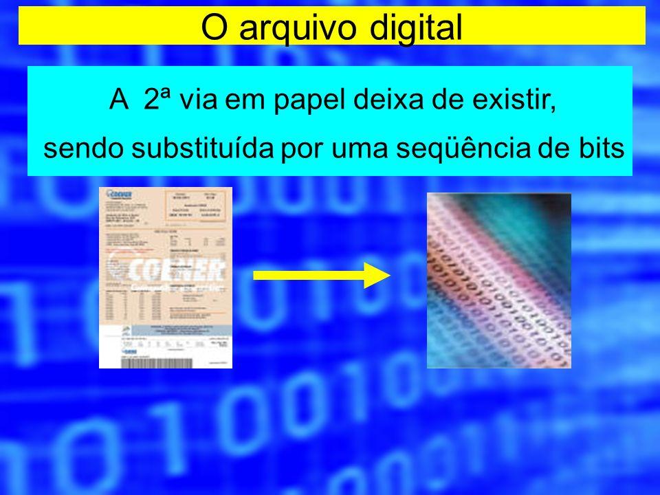 O arquivo digital A 2ª via em papel deixa de existir, sendo substituída por uma seqüência de bits