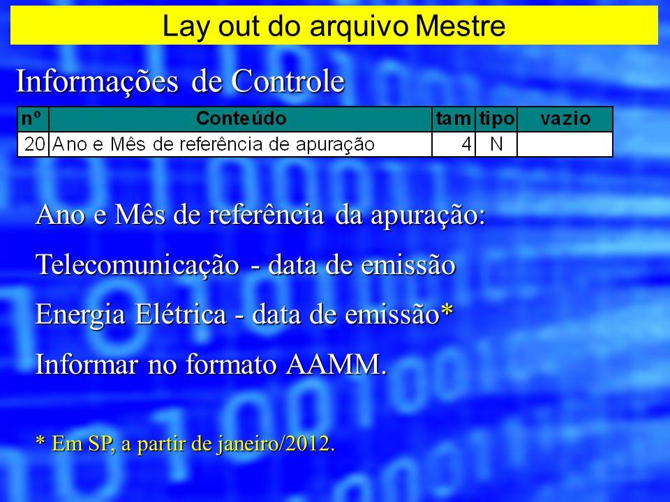 Informações de Controle Ano e Mês de referência da apuração: Telecomunicação - data de emissão Energia Elétrica - data de emissão* Informar no formato