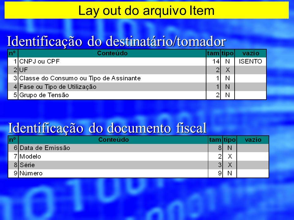 Identificação do destinatário/tomador Identificação do documento fiscal Lay out do arquivo Item