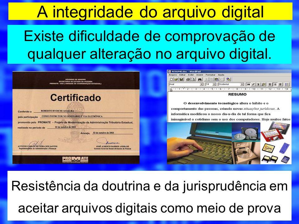 A integridade do arquivo digital Existe dificuldade de comprovação de qualquer alteração no arquivo digital. Resistência da doutrina e da jurisprudênc