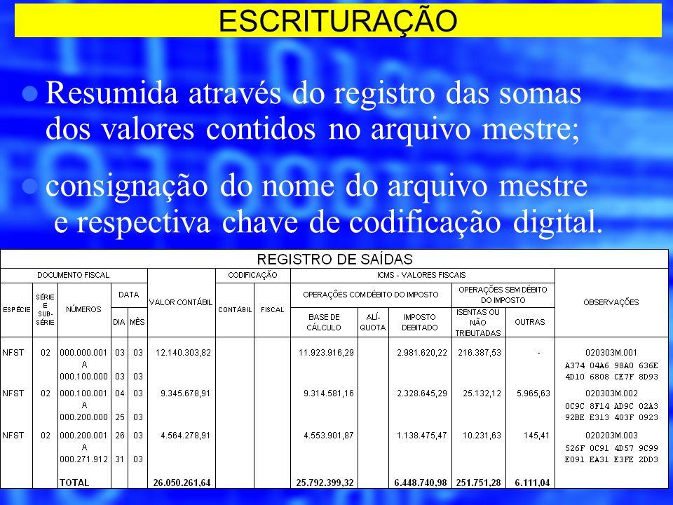 Resumida através do registro das somas dos valores contidos no arquivo mestre; consignação do nome do arquivo mestre e respectiva chave de codificação