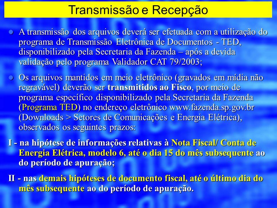 A transmissão dos arquivos deverá ser efetuada com a utilização do programa de Transmissão Eletrônica de Documentos - TED, disponibilizado pela Secret