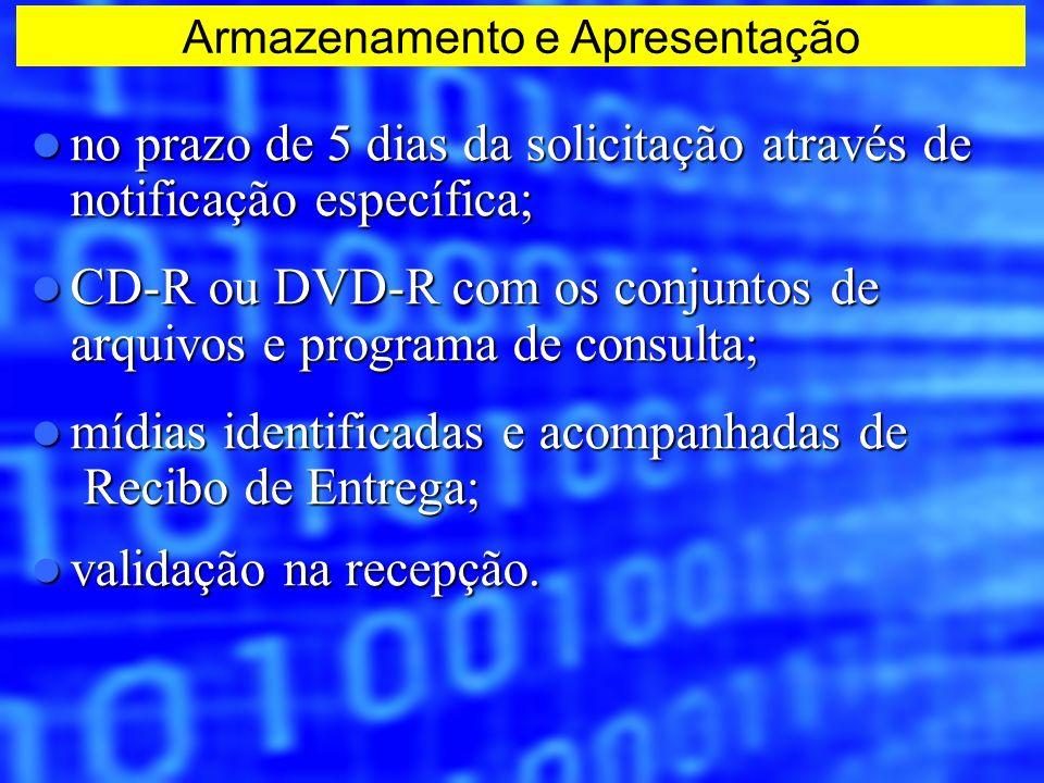 no prazo de 5 dias da solicitação através de notificação específica; no prazo de 5 dias da solicitação através de notificação específica; CD-R ou DVD-