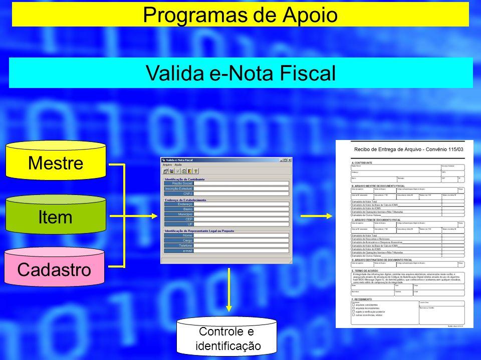 Programas de Apoio Valida e-Nota Fiscal Controle e identificação Item Cadastro Mestre