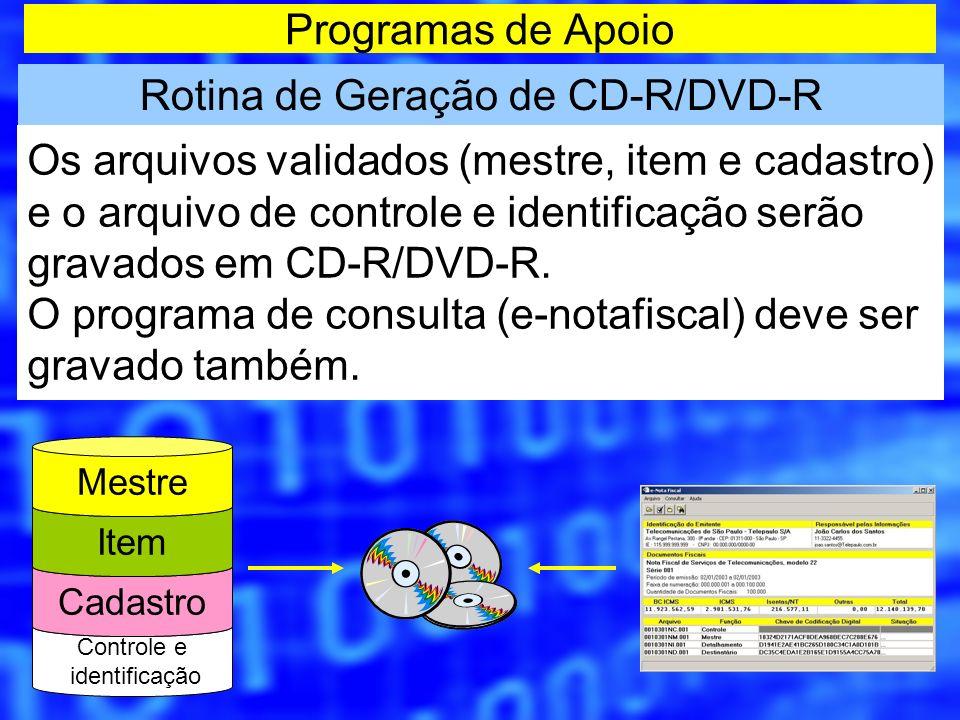 Programas de Apoio Rotina de Geração de CD-R/DVD-R Os arquivos validados (mestre, item e cadastro) e o arquivo de controle e identificação serão grava