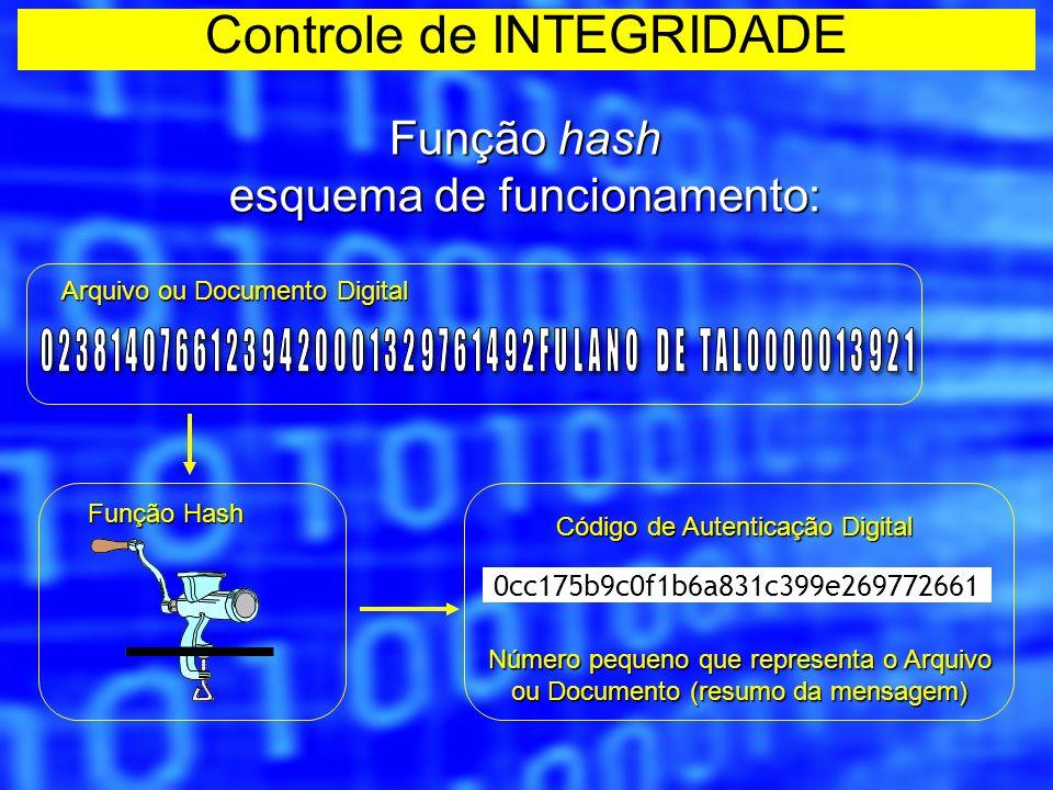 Função hash A função hash permite verificar a integridade do arquivo digital, pois qualquer alteração realizada no arquivo resulta em um hash code totalmente diferente.
