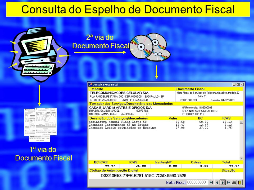 Consulta do Espelho de Documento Fiscal 2ª via do Documento Fiscal 1ª via do Documento Fiscal