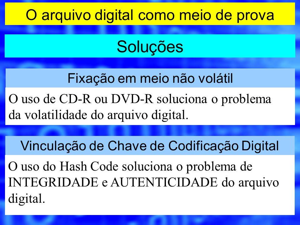 O arquivo digital como meio de prova Soluções Fixação em meio não volátil O uso de CD-R ou DVD-R soluciona o problema da volatilidade do arquivo digit